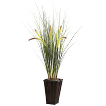 Grass w/Cattails & Bamboo Planter - $58.89