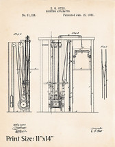 1861 Elevator Lift Art Drawing Patents Prints Poster Repairer Gift Artwo... - $12.38