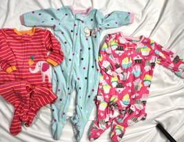 Carters Fleece Sleepers Romper Pajamas One Piece Girls 12M Elephant Cupc... - $27.72