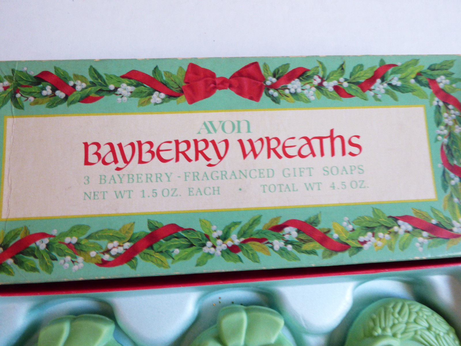 VTG 1970's Rare New in Box 3 pc. Avon Bayberry Wreaths Fragranced Perfume Soap