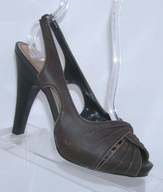 Primary image for Simply Vera by Vera Wang 'Essence' brown leather scalloped slingback platform 7M