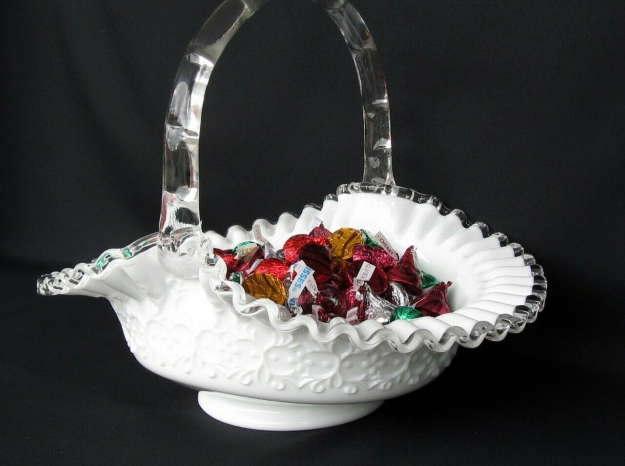 Primary image for Fenton Silver Crest Spanish Lace Large Handled Basket