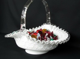 Fenton Silver Crest Spanish Lace Large Handled Basket - $89.00