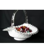 Fenton Silver Crest Spanish Lace Large Handled Basket - $89.00