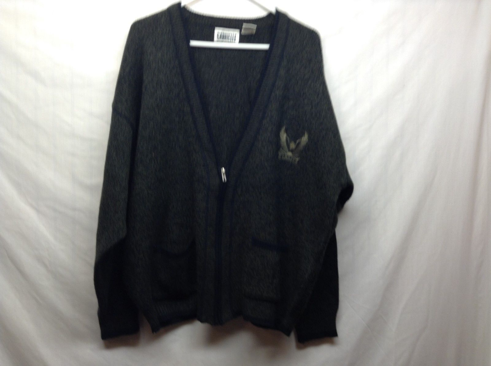 Gabrielle Medium Weight Half Zip Forest Green Sweater w Eagle Sz LG