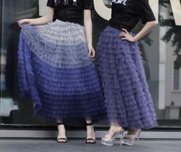 Tiered Tulle Maxi Skirt in Purple Violet Gray Tulle Layered Skirt for Adults  image 1