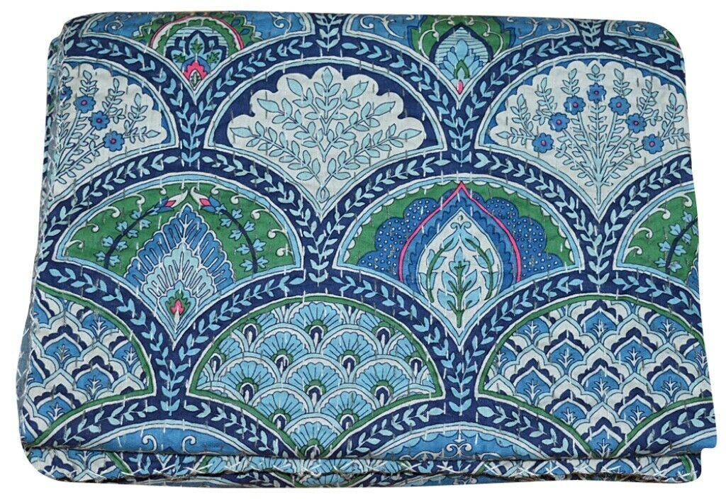 Primary image for Indian Embroidery Kantha Quilt Bedspread Rainbow Print Throw Cotton Blue