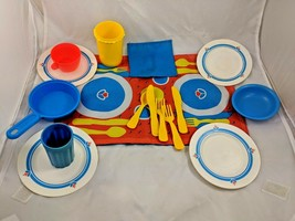 Fisher Price Fun With Food Dishes Placemat Pot Utensils Lot - $36.33