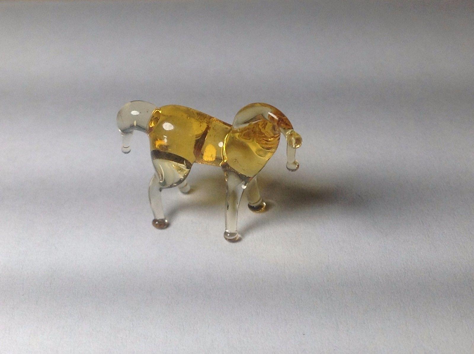 Miniature Glass gold colored horse Handmade Blown Glass Made USA