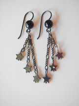 Star Dangle Earrings, Hematite / Hemalyke Star Beads, Black Onyx Beads - $18.00