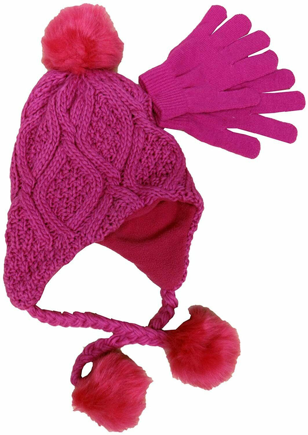 Primary image for Designer MACY'S Berkshire Girls' 2-Pc Knitted Hat Scarf Gloves Set Pink