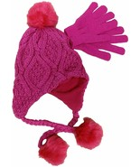 Designer MACY'S Berkshire Girls' 2-Pc Knitted Hat Scarf Gloves Set Pink - $9.49