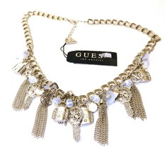 GUESS Silver-Tone Crystal, Bead & Chain Tassel Logo Charm Statement Neck... - $14.99