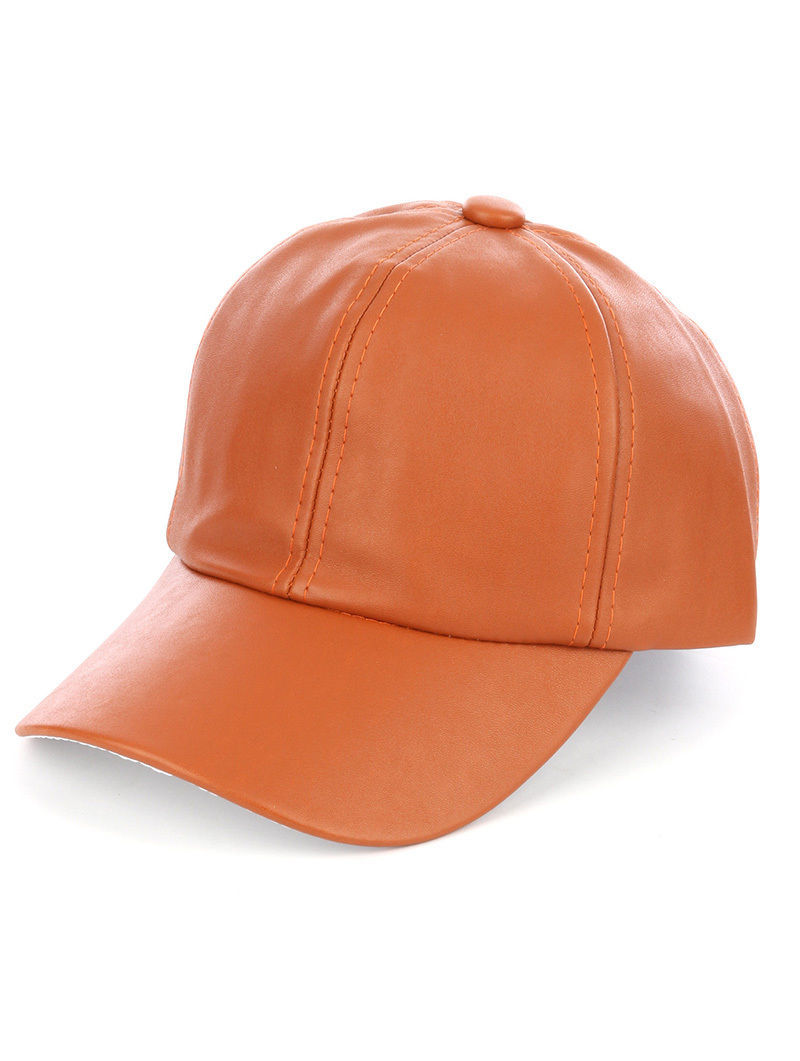 Solid Colored Baseball Cap Fashion Hat - Faux Leather Brown