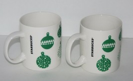 Starbucks Christmas Holiday Coffee Mugs, Set of 2, Green Ornament, 12 oz... - $16.09