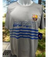 NWT men's FCB BARCA Dri fit Barcelona soccer outdoors gray blue trim shi... - $14.97