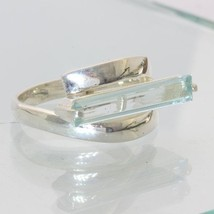Light Blue Aquamarine East West Rectangular Handmade Unisex Silver Ring ... - £57.25 GBP