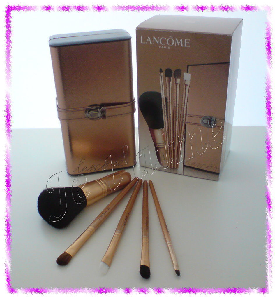 Primary image for NIB Lancome Bronze voyage Deluxe 5pcs Brush Set and Case, Limited Edition