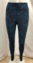 LulaRoe Teal and Red Leaf Print Leggings, Womens One Size - $17.09