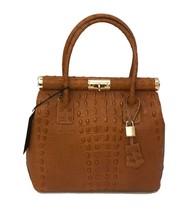 New Brown Tan Crocodile Embossed Italian Leather Locking Satchel Handbag... - $128.65