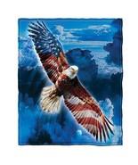 American Eagle Fleece Throw Blanket Patriotic Memorial Day Wall Hanging - $32.57
