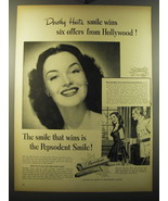 1949 Pepsodent Toothpaste Ad - Dorothy Hart's smile wins six offers - $14.99