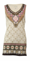 Charter Club Women's Beaded V-Neck Knit Tank  Sand Combo Size Small - $13.72