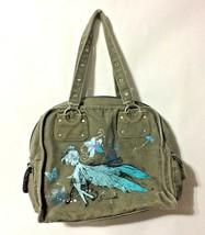 "Disney Tinkerbell Army Green Boho Zipper Canvas Purse Shoulder Bag - 11""... - $15.99"