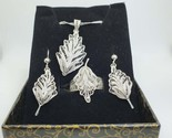 Sterling silver earrings, necklace and ring leaf jewelry set for women - $128.00
