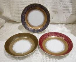 Vintage Shafford Japan Saucer Bowls - Blue, Brown, Ruby and Gold Filigre... - $15.00