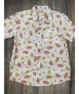 VSTR Premium Chicken & Waffles Print Short Sleeve Button Front Shirt Men... - $24.74