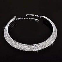 DIAMOND WRAP CHOKER NECKLACE ELEGANT RHINESTONE BRIDAL PARTY SILVER COLL... - $14.99