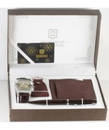 QBOS man's Brown Gift Set leather Wrist Watch Pen Cardholder Keychain H28 - $47.77