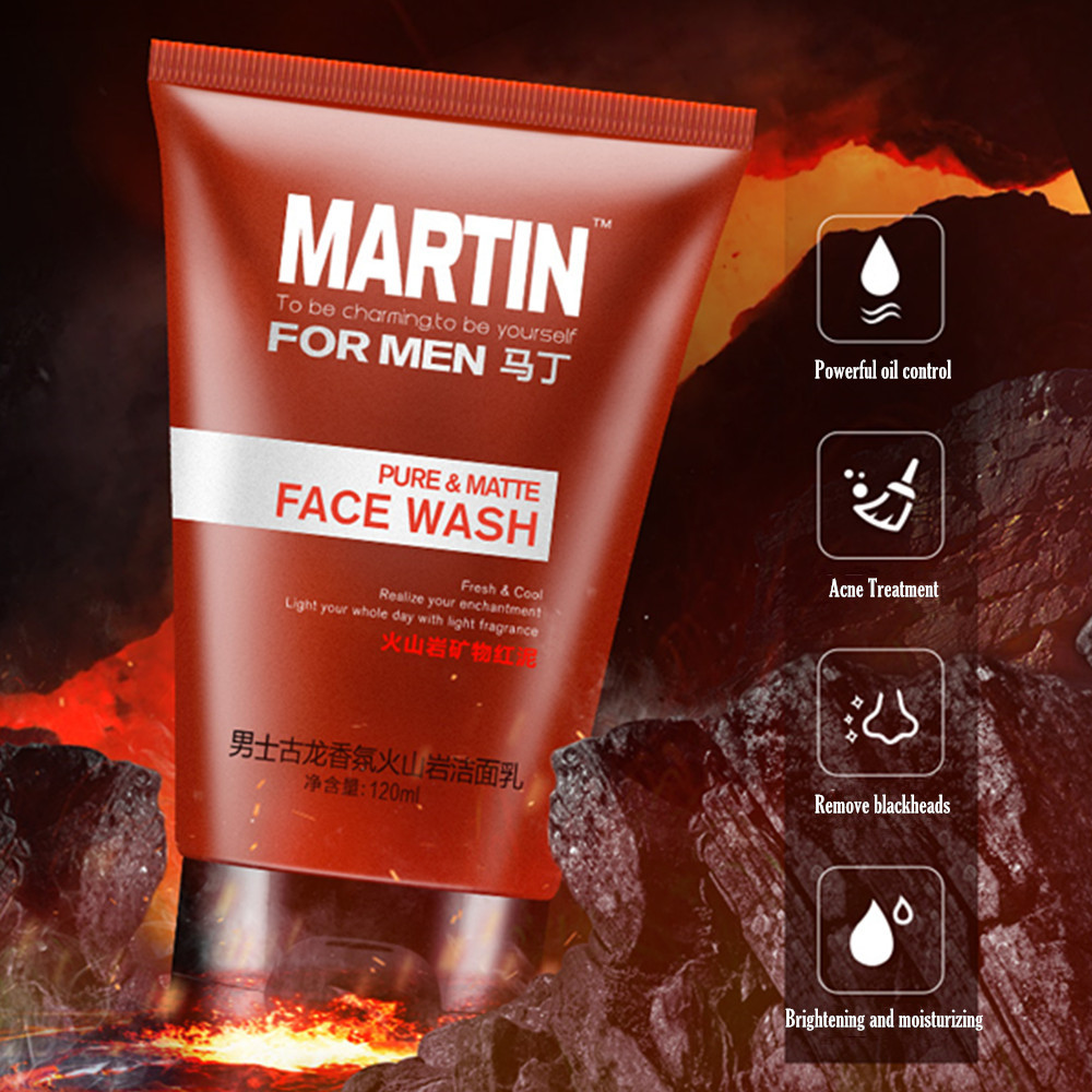 MARTIN Men's Volcanic Mud Anti-Acne Moisturizing Face Wash
