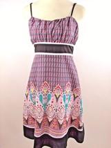 Anthropologie Pura Vida Sz 6 Multi Color Geometric Floral Print Dress - $19.75
