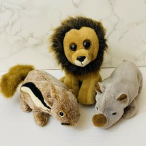 Lot Of 3 Ty Beanie Babies Spike The Rhino Cecil The Lion Chipper The Chi... - $10.19
