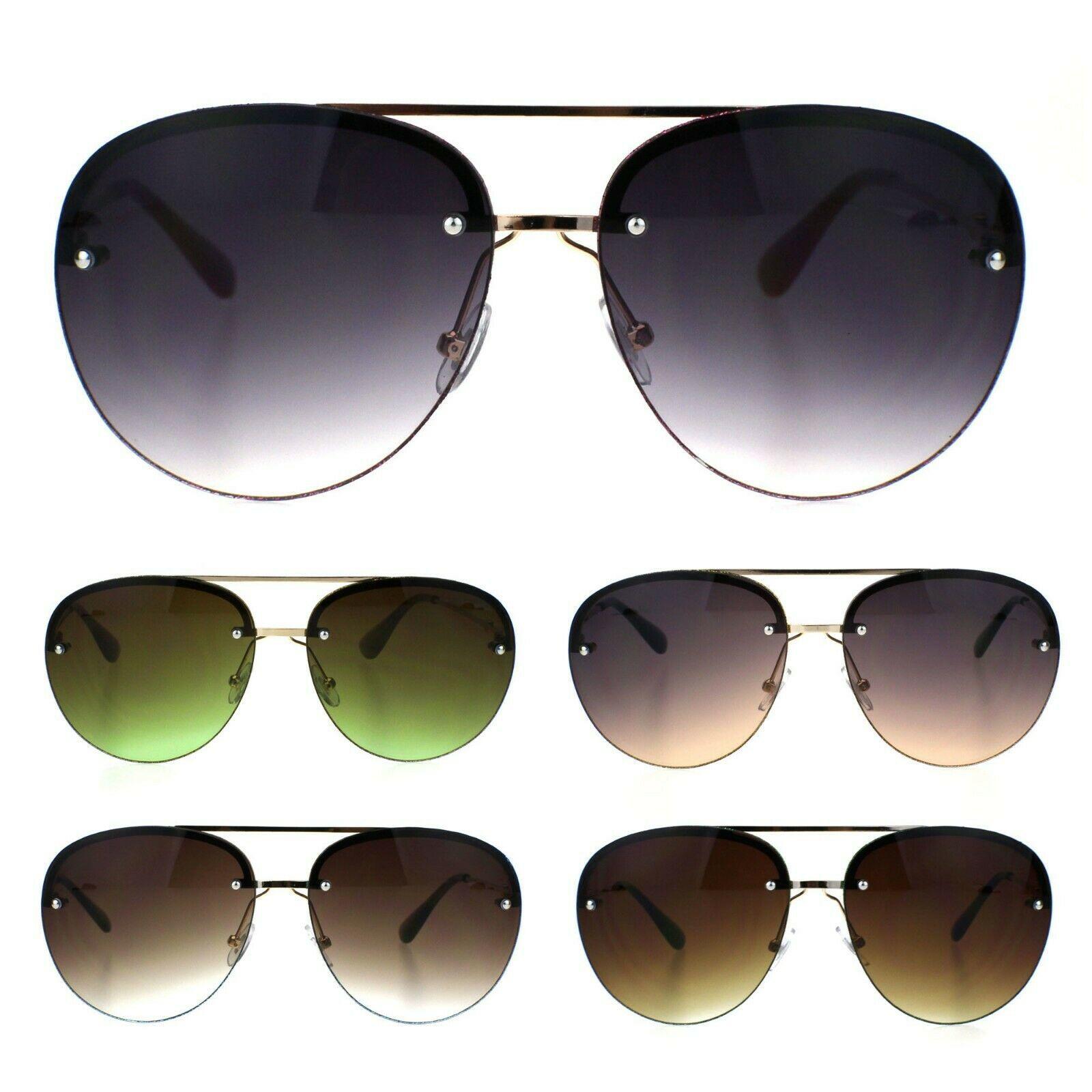 Womens Glitter Edge Trim Luxury Designer Rimless Pilots Sunglasses