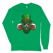 Leprechaun Skull Beer Mugs Long Sleeve T-shirt Irish Flag St. Patrick's Day - $16.41+