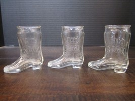 Jim Beam Clear Glass Cowboy Boot Shot Glasses x 3man cave collect gifting bar - $26.23