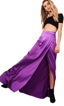 Lovemystyle Purple Satin High Waisted Maxi Skirt With Split - $22.99
