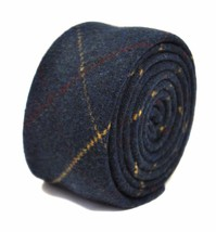 Frederick Thomas mens wool tweed tie in navy blue red and gold check FT2141