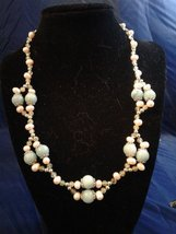 "20"" Handmade Amazonite, Pink Pearl, and Epididote Beaded Necklace Z295 - $90.00"