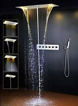 """Cascada Luxury 15""""x28"""" Rectangle Ceiling Mounted LED Thermostatic System... - $2,771.95"""