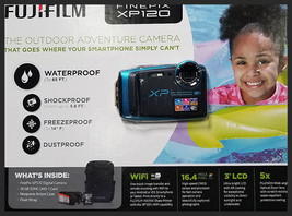 Fujifilm FinePix Xp120 SKY BLUE Digital Camera W/ Float Strap, 16GB SDHC... - $149.99