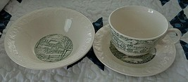 Vintage Homer Laughlin Taylor Smith Green 3 Pc Pastoral Cup, Saucer & Small Bowl - $20.00