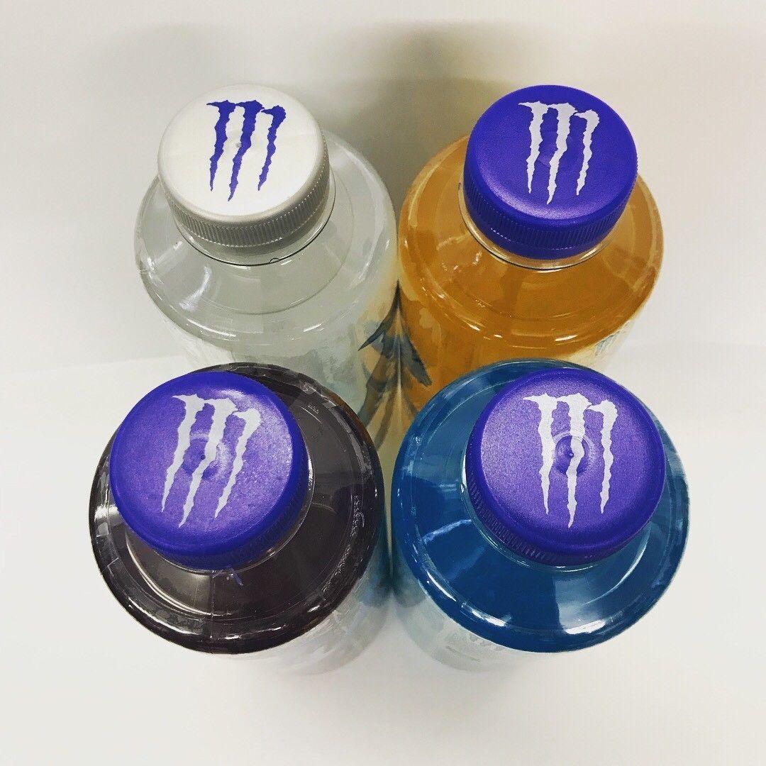 Monster Energy Drink Hydro 25.4oz Bottles. A Total Of 4 Full Bottles Pictured.