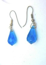 Vintage Blue Plastic Fish Hook Earring Drops gift stocking stuffer - $10.80