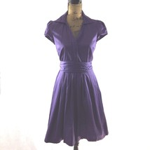 Ann Taylor LOFT 2 Small Dress Dark Purple Full Pleat Skirt Hidden Button... - $14.95