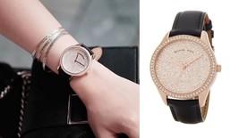new MICHAEL KORS womens Watch MK2649 LADY NINI black leather bracelet glitz face - $138.50