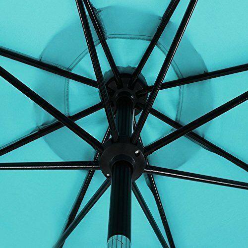 Patio Umbrella: 9 ft Aluminum Push Button Tilt Crank Blue 100% Polyester image 3